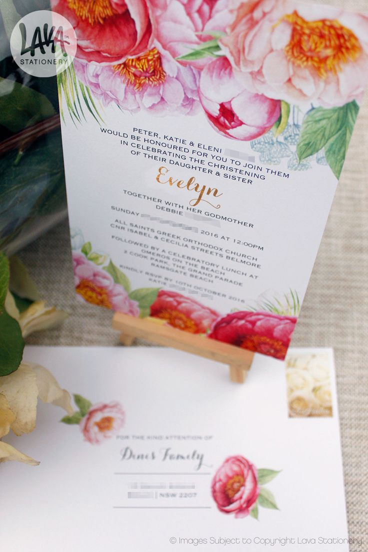 The Evelyn invitation with floral watercolours, metallic gold foil & matching envelope. Available at www.lavastationery.com.au