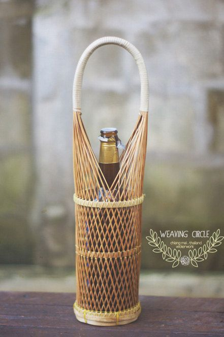 Timeless Bamboo Wine Holder Basket by WeavingCircle on Etsy