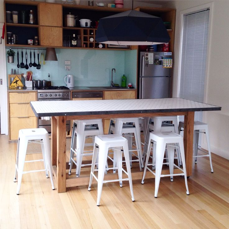 Hexagon tiled scandi dining table, fits nine people ~ hand built by the team of Kutu Ev.