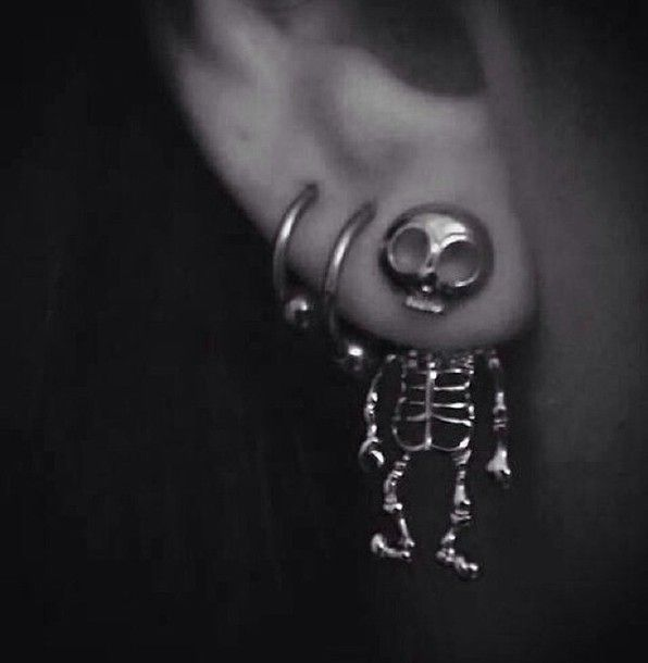 Skeleton front and back earrings. Love a bunch of these. Miss wearing all my earrings. :(