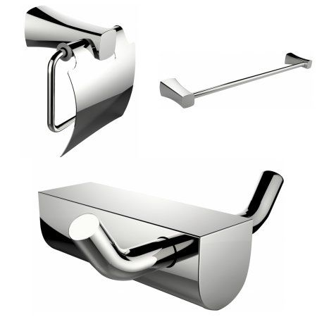 Single Rod Towel Rack And Robe Hook With Modern Toilet Paper Holder Accessory Set, Silver