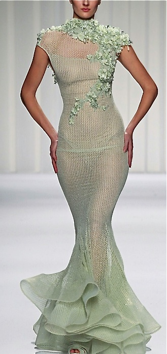 Abed Mahfouz couture gown. Mint knit dress with trumpet skirt and petal detail.