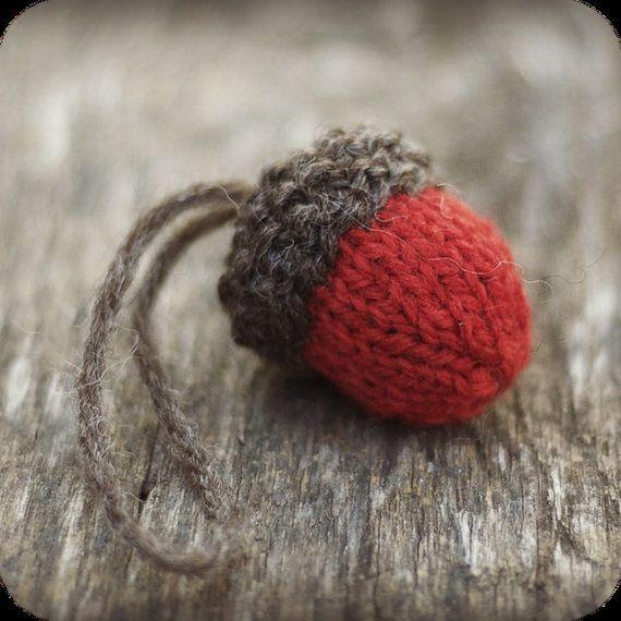 Knit Acorn Christmas Ornament