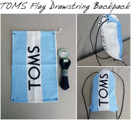 TOMS flag backpack-- This site has crafty things you can do with flags and stickers that you get with your toms shoes!