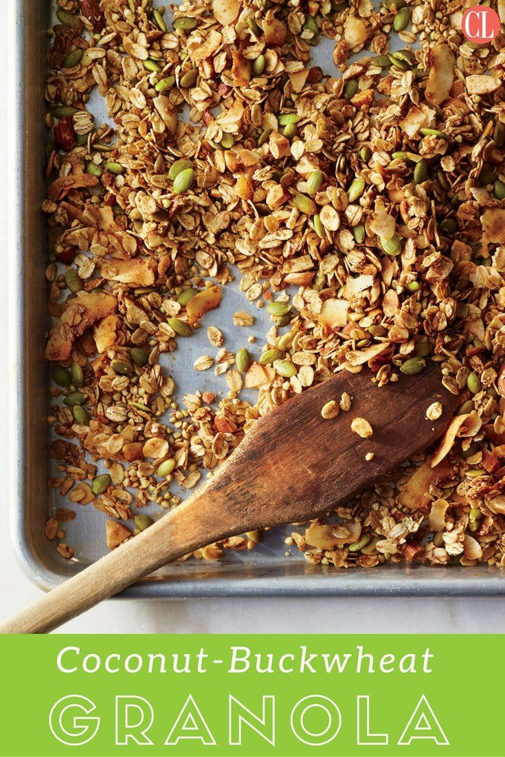 We change up the traditional oat and nut combo with big flakes of fragrant, crispy coconut and starchy, nutty buckwheat groats. Look for blonde or pale-green groats; the toasted, chocolate-brown buckwheat can have a bitter flavor. | Cooking Light