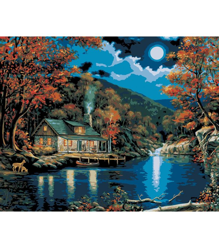 Plaid Paint By Number Kit 16''x20'' Lakeside Cabin