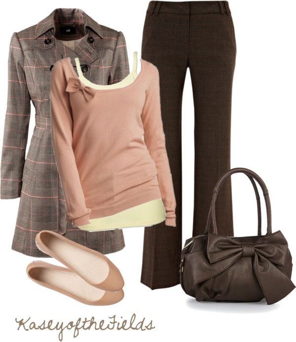 """Pink and Brown Bows"" by kaseyofthefields on Polyvore"