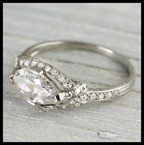 Art Deco East-West marquise engagement ring by Tiffany and Co., circa 1925. Via Diamonds in the Library.
