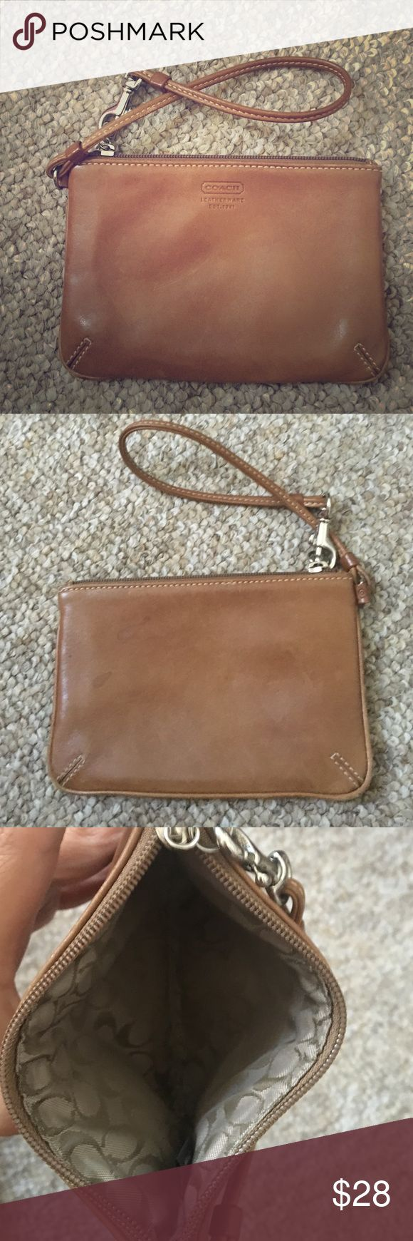 Coach tan leather women's wristlet Soft tan leather, signature c inside liner Coach Bags Clutches & Wristlets