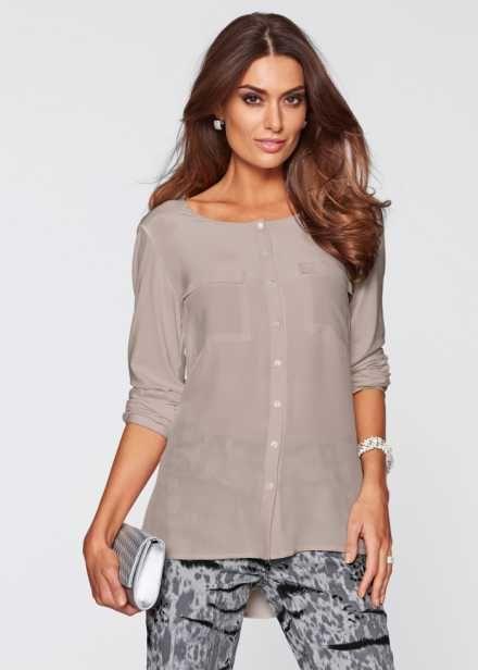 Блуза ПРЕМИУМ из трикотажа и шелка, bpc selection premium, серо-коричневый