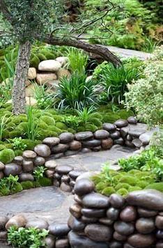 Moss mounds & decorative pebble - Artisan Garden: