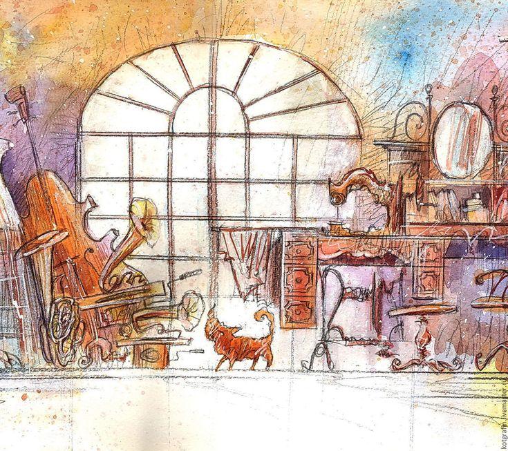 """Купить """"Чердачок"""" - бежевый, кот, котик, акварель, винтаж, смешаная техника, антиквариат, музыкальные инструменты"""