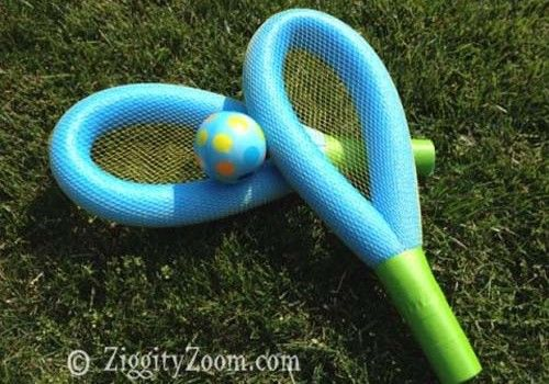 These simple pool noodle racquets  will provide hours of summer fun for both children and adults. This game can be played on the lawn or in the pool.