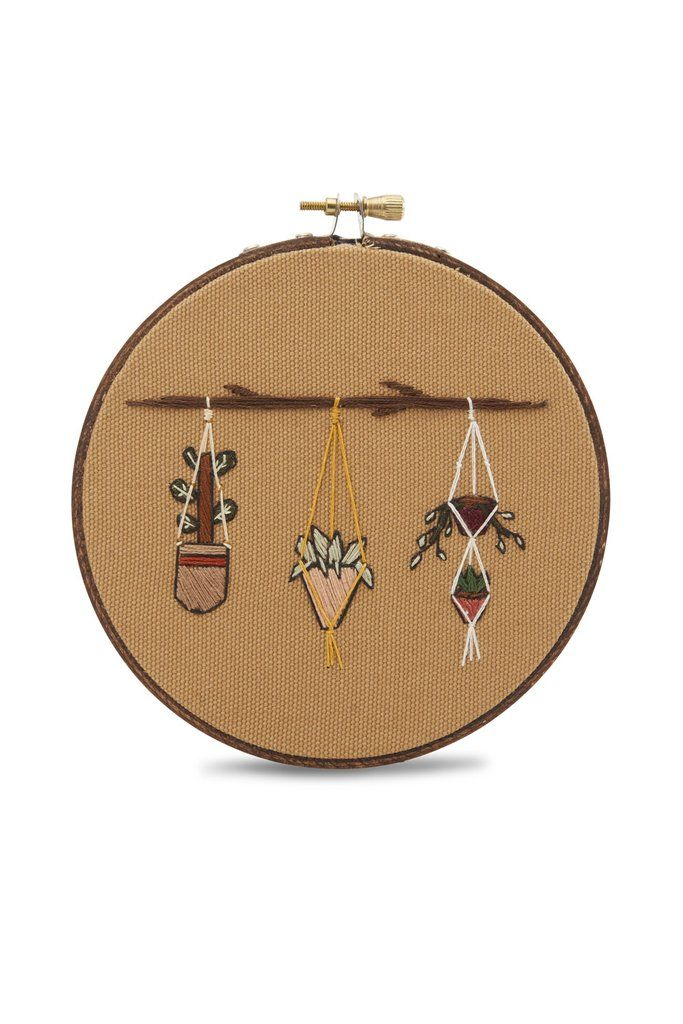 Hanging Macrame Plant Embroidery