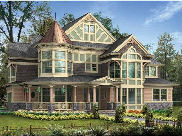 100s of victorian homes for Queen anne house plans with turrets