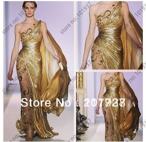 Free Shipping Gold One Shoulder Elegant Floor Length Embroidery Couture Evening Dresses Women $159.00