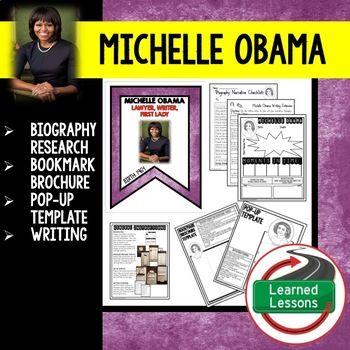Women's History Michelle Obama Biography Research, Bookmark, Pop-Up, Writing