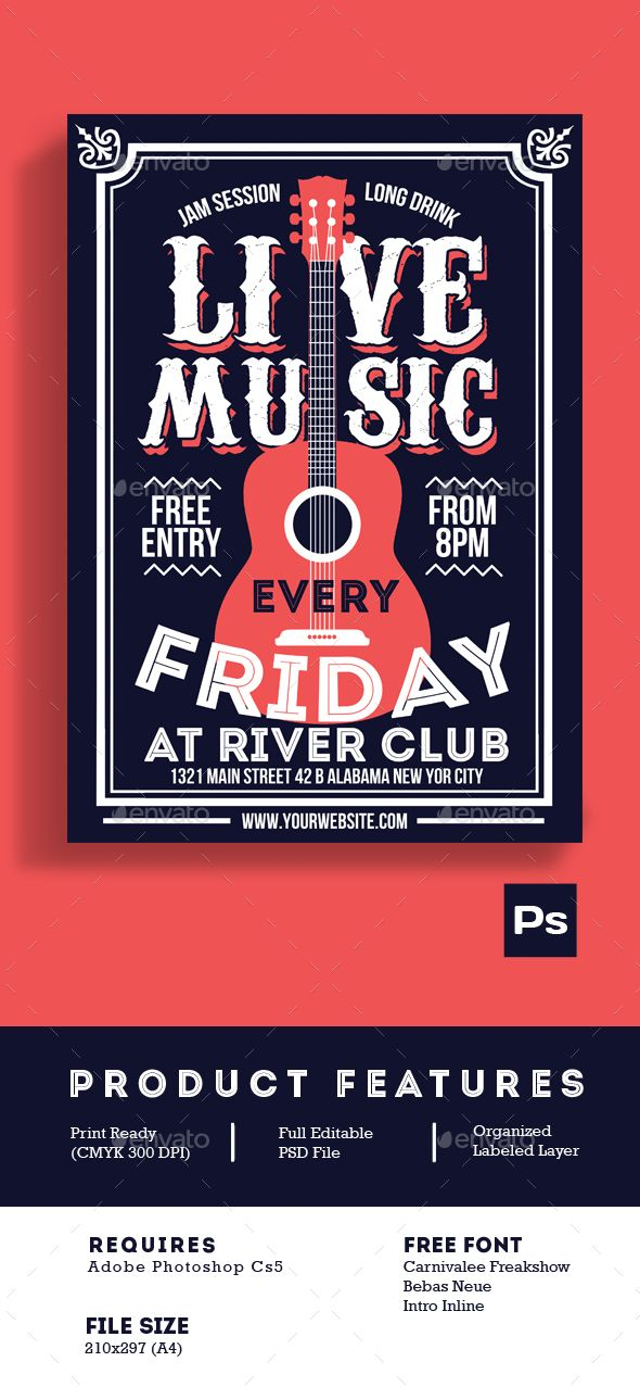 Live Music Poster Flyer — Photoshop PSD #vintage #night • Available here → https://graphicriver.net/item/live-music-poster-flyer/14437425?ref=pxcr