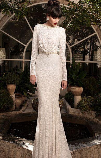 Платье кружевное белое с длинными рукавами