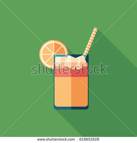 Cold fruit cocktail flat square icon with long shadows. #foodicons #summericons #flaticons #vectoricons #flatdesign