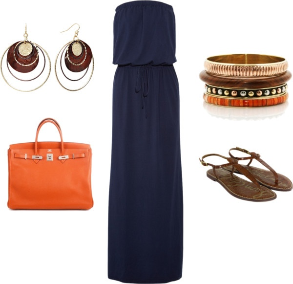 """Navy/ Orange Maxi Dress Outfit"" by ggdesigns ❤ liked on Polyvore"