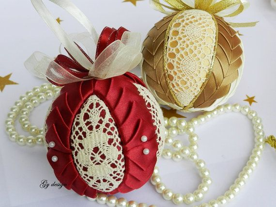 Special Christmas ornament set, bronze ornament, quilted ornament, burgundy ornament, lace ornament, Christmas gift idea, Christmas baubles