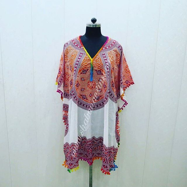 Cotton mandala print pompom lace and fringes beach cover up dress night gown poncho kaftan For whole sale inquiries contact us Email info@shabanaexim.com whatsapp +91-9891792919 Skype shabanaexim
