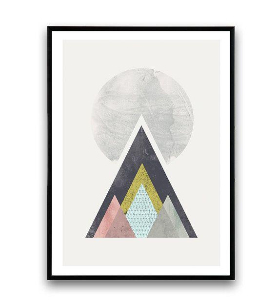 minimalist abstract art Geometric print Mountains by Wallzilla
