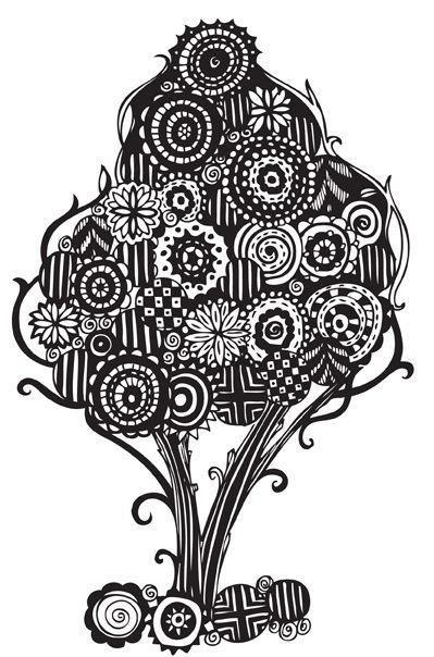 Doodle Designs   pinkshoesart: Zendoodle tree