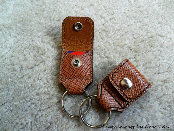 100% handmade, hand stitched Italian cowhide leather keychain / coin keeper / MXS/ SD card / guitar pick $22.43// holder with a Fender Celluloid pick via Etsy