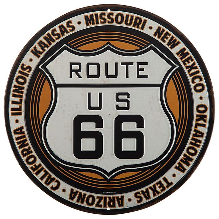Route 66 Embossed Die-Cut Tin Sign | Bass Pro Shops⎜Open Road Brands