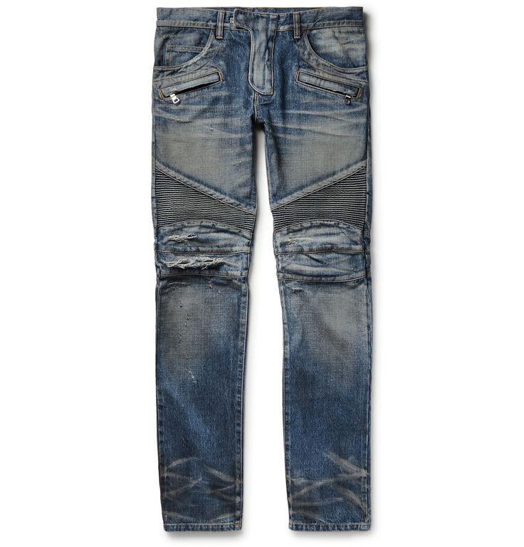 Balmain — Slim-Fit Distressed Denim Biker Jeans