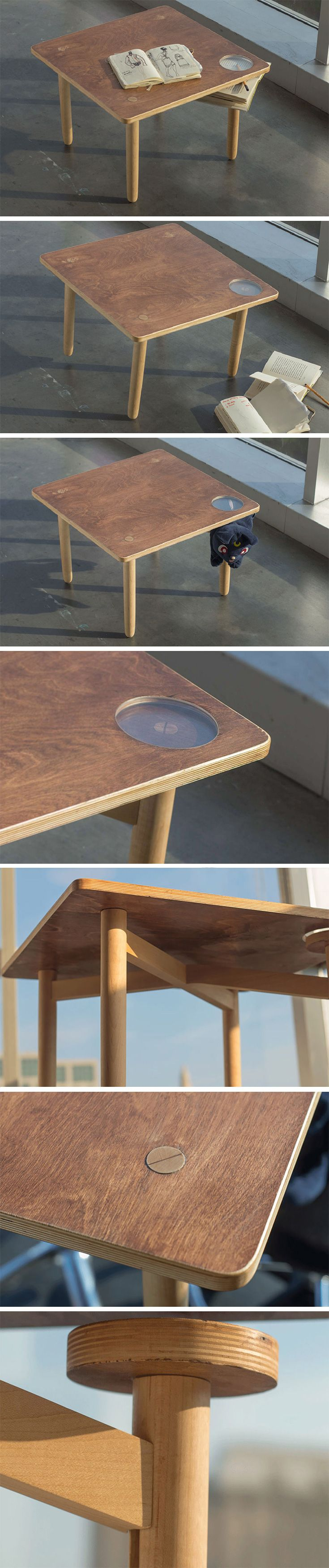 """The """"Table of Mindfulness"""" only works if YOU put the finishing touch on it! It's uneven 4th leg makes the design wobbly, that is, unless you wedge another object of your choosing to keep it supported. Whatever you choose, it will be visible through the round integrated window on the surface. Each table ends up being different than the next as well as a unique statement about the owner!"""