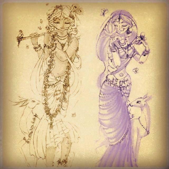 Radha-Krsna - color draw