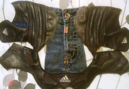 Take men's Adidas trainers and men's Timezone denim jeans and blend together towards a bodice top. From Ectos - Bodice Beautiful. £POA