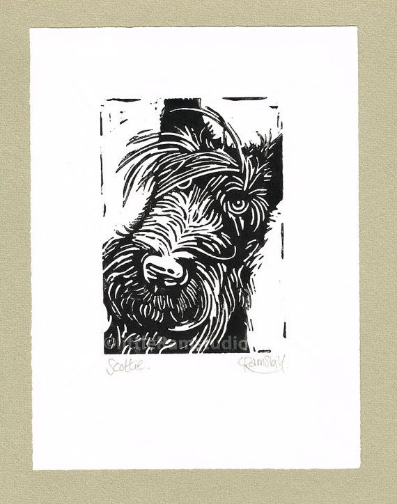 Scottie Dog  Linocut Original handpulled Relief by littleRamstudio, £18.00