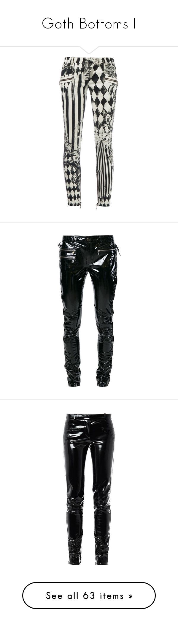 """Goth Bottoms I"" by creaturefeaturerules ❤ liked on Polyvore featuring pants, bottoms, jeans, balmain, trousers, skinny trousers, zip pocket pants, cuff pants, skinny leg pants and cuffed pants"