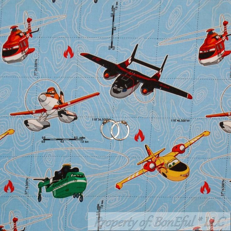 BonEful FABRIC Cotton Quilt VTG Disney Planes Airplane Movie Sea Earth Map SCRAP #SpringsCreativeProducts