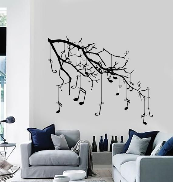 Wall Vinyl Decal Tree With Branches Hanging Music Notes Modern Etsy In 2020 Music Wall Decor Music Room Decor Vinyl Wall