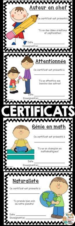 FIN D'ANNÉE SCOLAIRE - 24 certificats pour garçons et filles.