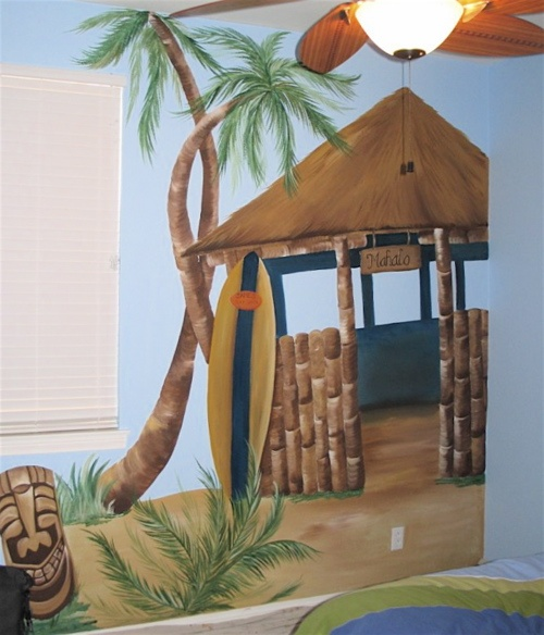 beach decor | Tropical-Themed Wall Murals for Playroom Decor | Kids Bedroom Interior ...
