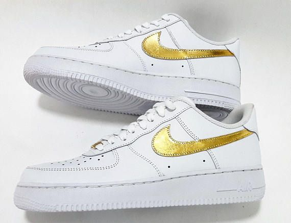 new style fde71 26845 24k Gold, Nike Air Force 1 Sneakers, Custom Nike Air Force 1 Low, Supreme,  Sport Shoes, Basketball shoes, Mens, womens - Free Shipping!!