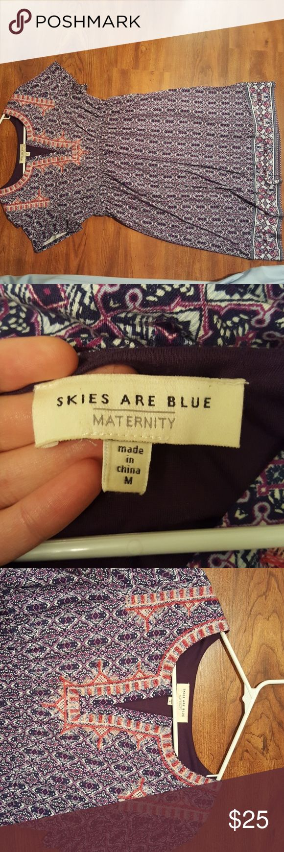 Skies Are Blue Maternity Dress This dress has been only worn a couple times during my pregnancy for photos. It's in great condition, very well made, and good material! I'm 5'10 and this dress is about at my knees. Skies Are Blue Dresses Midi