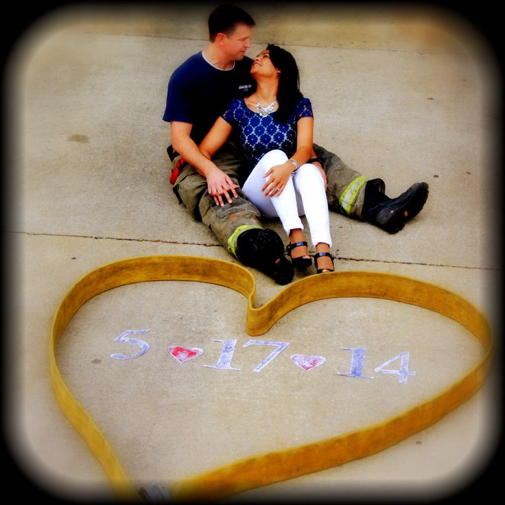 Our save the date! Firefighter love :)