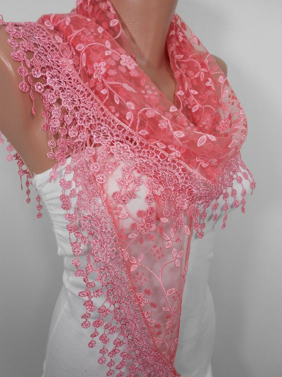 Pink Scarf Lace - a great gift for Mom (it always fits, it will brighten any summer outfit!) by ScarfClub