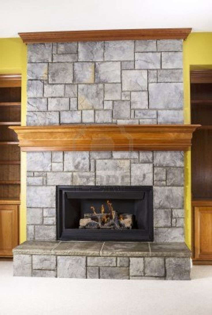 Stacked stone with wraparound mantle and crown molding - Fotos de chimeneas de piedra ...