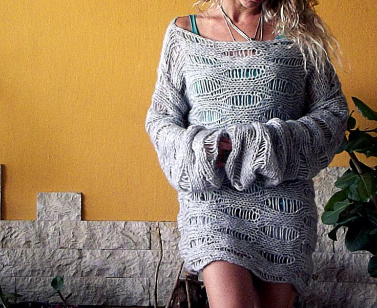 Gray Loose Knit Slouchy Sweater Hand Knit Sweater Women Knit Top Oversized Grunge Sweater by MyAqua on Etsy