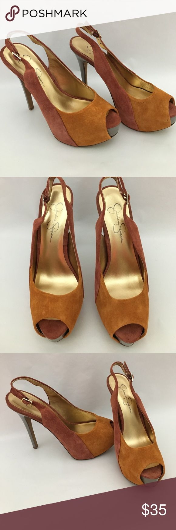 "Jessica Simpson Suede Shoes Two tone 5"" heels, 1 2/2 platform, has an unnoticeable spot in picture. New w/o tags Jessica Simpson Shoes Heels"