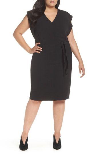 91ac6488f64 Eliza J Flutter Sleeve Belted Crepe Sheath Dress