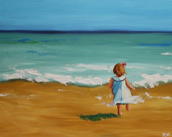 Girl on the beach by Roz